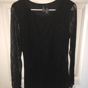 Bisou Bisou Lace Long sleeve Black Mini Dress